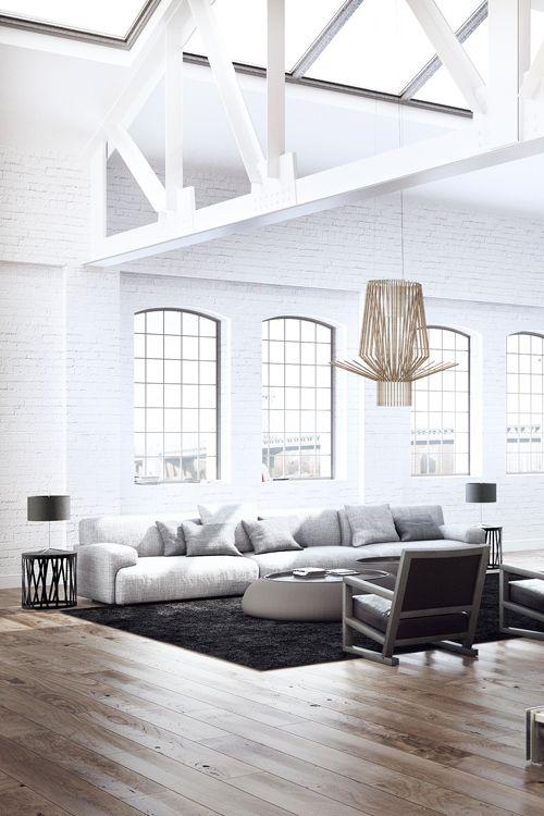 Variado    Clean-white-loft-lots-of-light-through-the-roofwindows-illuminating-the-beautiful-Foscarini-chandelier-via-Atvraxi