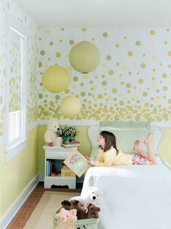 cute kids bedroom with neutral guilfrod green color scheme via