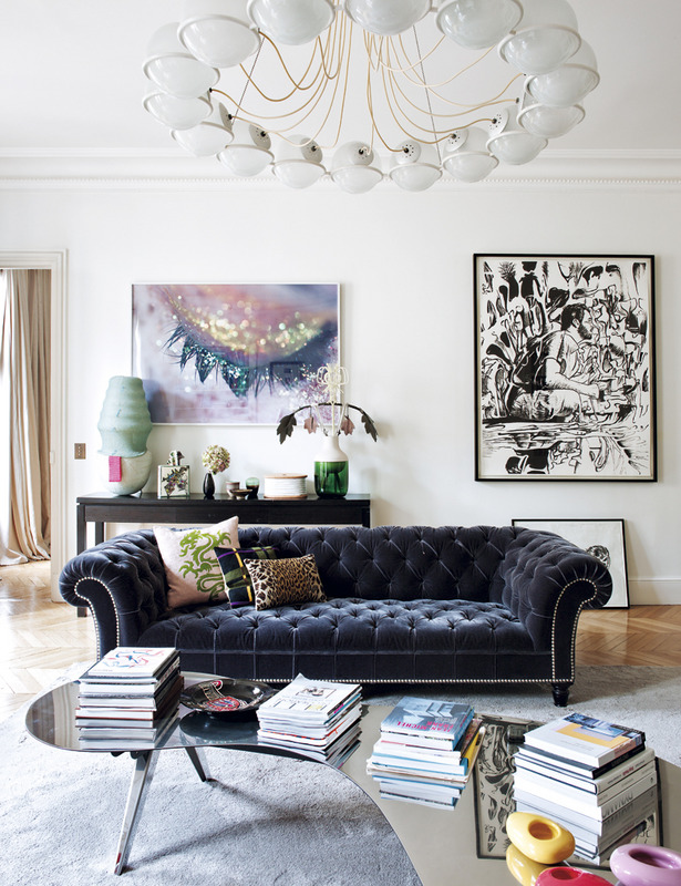 Deep Blue Velvet Chesterfield In This Eclectic Apartment Owned By French Interior  Designer Sandra Benhamouu0027s Paris Apartment U2013 Via Sukio
