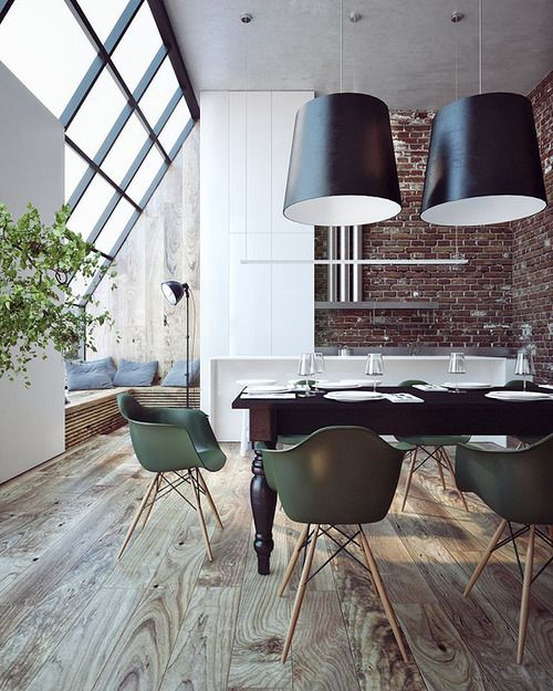 Renovated loft with custom fit black steel windows love the olive eames chairs via pazzionpits