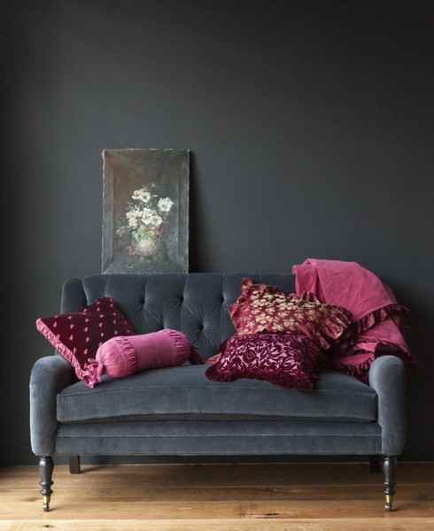 Dark decor Red and grey sofa