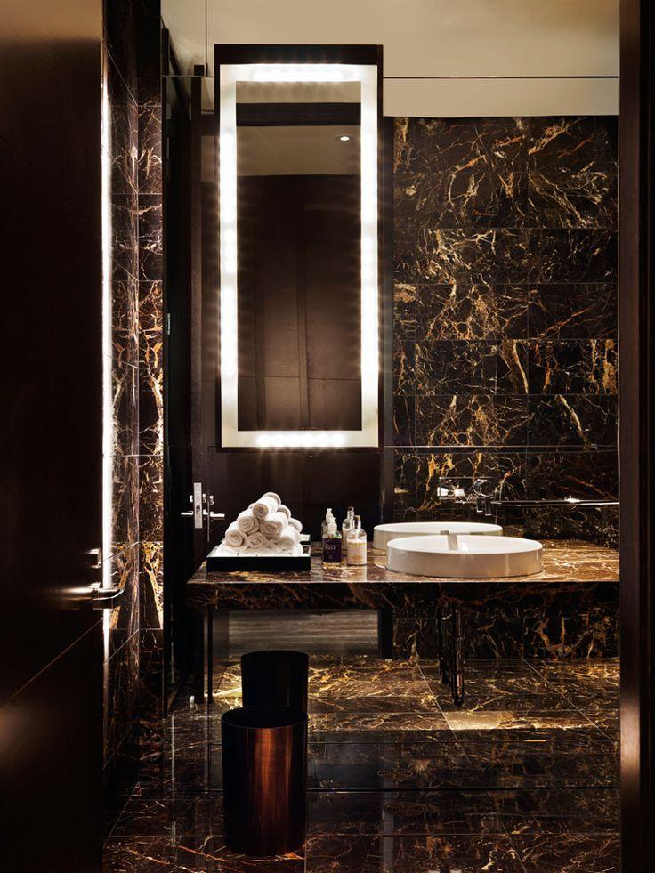 The marble trend for Restaurant bathroom design ideas